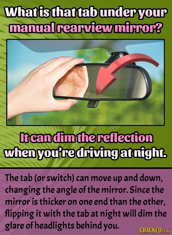 What is that tab under your manual rearview mirror? It can dim the reflection when you're driving at night. The tab (or switch) can move up and down,