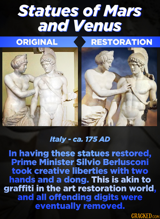 Statues of Mars and Venus ORIGINAL RESTORATION Italy - ca. 175 AD In having these statues restored, Prime Minister Silvio Berlusconi took creative lib
