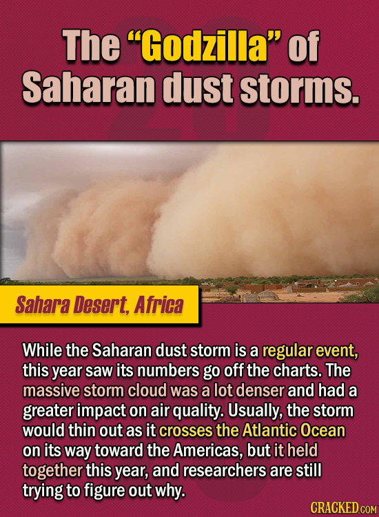 """15 Of The Strangest Things 2020 Managed To Cook Up (Part 2) - The """"Godzilla"""" of Saharan dust storms. While the Saharan dust storm is a regular event,"""
