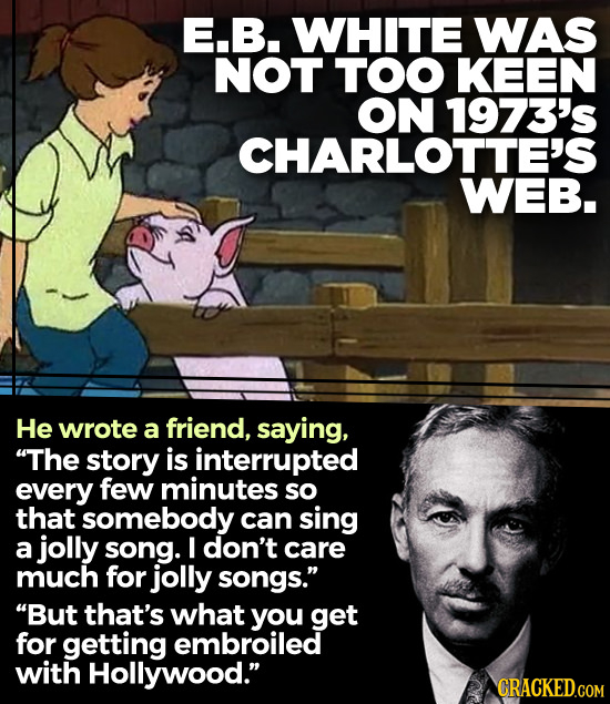 E.B. WHITE WAS NOT TOO KEEN ON 1973's CHARLOTTE'S WEB. He wrote a friend, saying, The story is interrupted every few minutes so that somebody can sin
