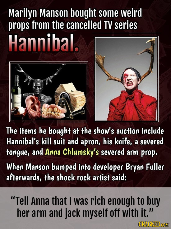 Marilyn Manson bought some weird props from the cancelled TV series Hannibal. The items he bought at the show's auction include Hannibal's kill suit a