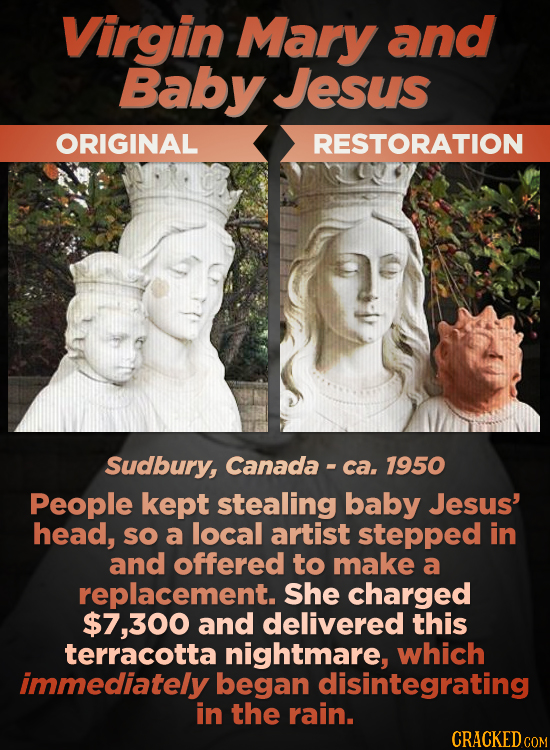 Virgin Mary and Baby Jesus ORIGINAL RESTORATION Sudbury, Canada ca, 1950 People kept stealing baby Jesus' head, SO a local artist stepped in and offer