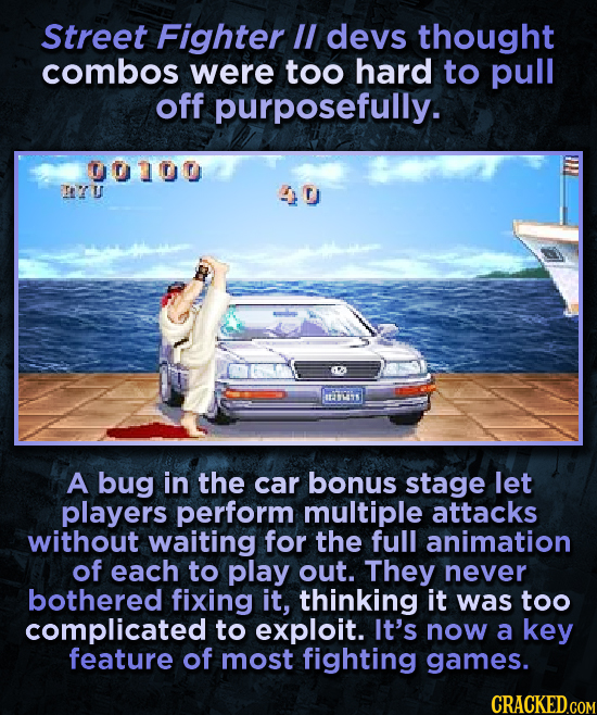 Street Fighter I devs thought combos were too hard to pull off purposefully. 00100 ITU 40 ITTITS A bug in the car bonus stage let players perform mult