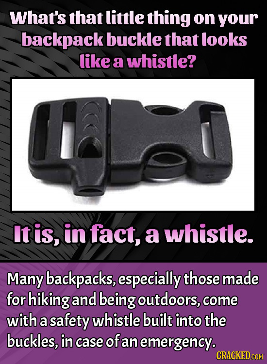 What's that little thing on your backpack buckle that looks like a whistle? It is, in fact, a whistle. Many backpacks, especially those made for hikin