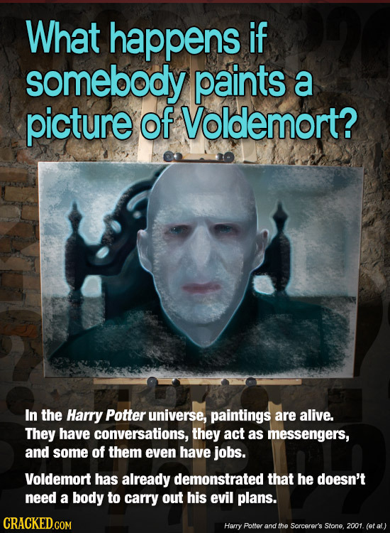 What happens if somebody paints a picture of Voldemort? In the Harry Potter universe, paintings are alive. They have conversations, they act as messen