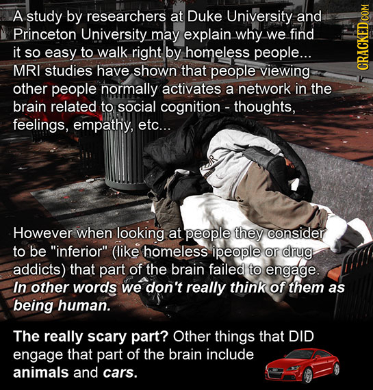 A study by researchers at Duke University and Princeton University may explain why we find it SO easy to walk right by homeless people... MRI studies