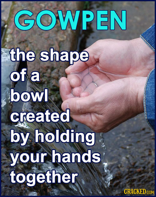 GOWPEN the shape of a bowl created by holding your hands together CRACKED COM