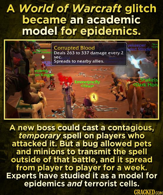 A World of Warcraft glitch became an academic model for epidemics. Corrupted yekeeper Nox Blood hded Minds> vnrte Dominat Deals 263 to 337 damage ever