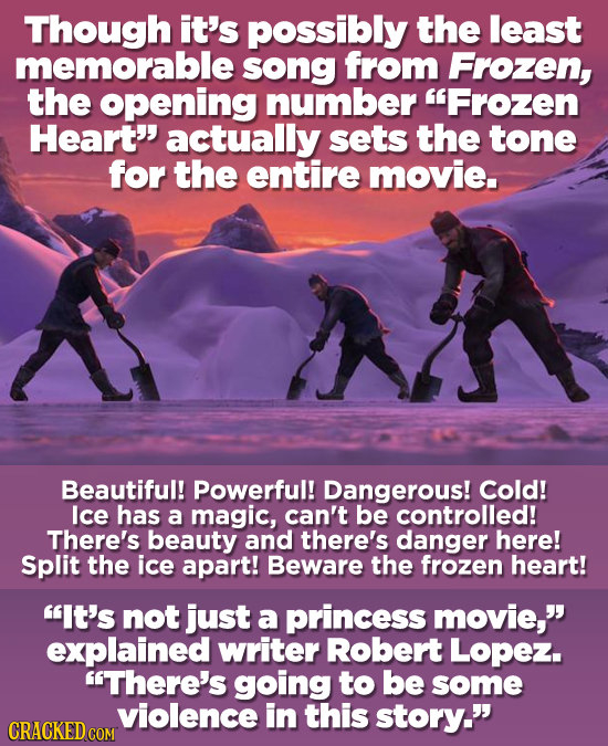 Though it's possibly the least memorable song from Frozen, the opening number Frozen Heart actually sets the tone for the entire movie. Beautiful! P