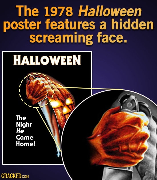 The 1978 Halloween poster features a hidden screaming face. HALLOWEEN The Night He Came Home!