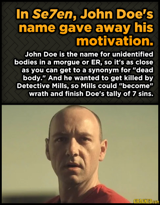 In Se7en, John Doe's name gave away his motivation. John Doe is the name for unidentified bodies in a morgue or ER, so it's as close as you can get to