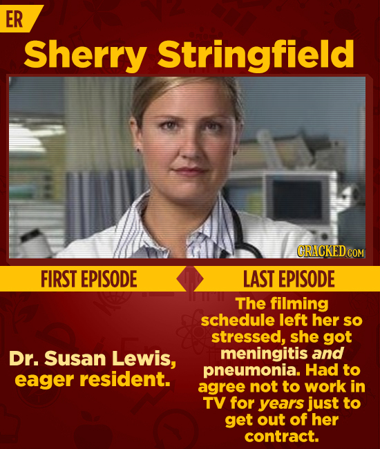ER Sherry Stringfield GRACKEDC COM FIRST EPISODE LAST EPISODE The filming schedule left her sO stressed, she got Dr. Susan Lewis, meningitis and pneum