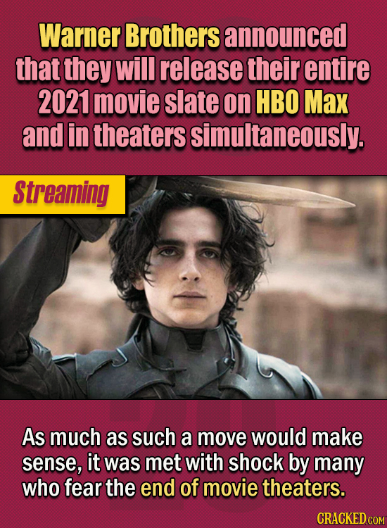 15 Of The Strangest Things 2020 Managed To Cook Up (Part 2) - Warner Brothers announced that they will release their entire 2021 movie slate on HBO Ma