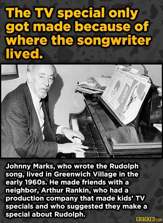 The TV special only got made because of where the songwriter lived. Johnny Marks, who wrote the Rudolph song, lived in Greenwich Village in the early