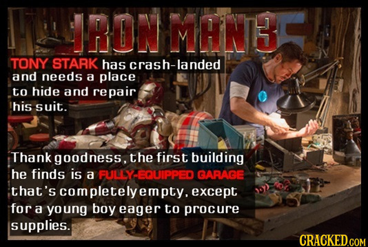IRON MANBC TONY STARK has crash-landed and needs a place to hide and repair his suit. Thank goodness, the first building he finds is a FULLY EQUIPPED