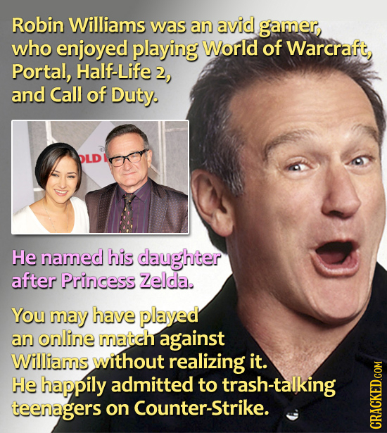 Robin Williams was an avid gamer who enjoyed playing World of Warcraft, Portal, Half-Life and Call of Duty. He named his daughter after Princess zelda