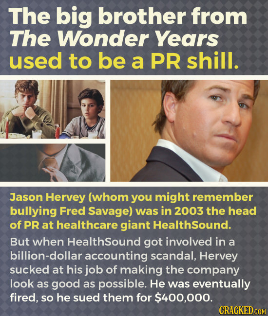 The big brother from The Wonder Years used to be a PR shill. Jason Hervey (whom you might remember bullying Fred Savage) was in 2003 the head of PR at