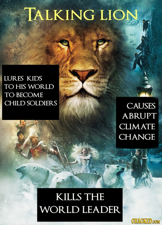 TALKING LION LURES KIDS TO HIS WORLD TO BECOME CHILD SOLDIERS CAUSES ABRUPT CLIMATE CHANGE KILLS THE WORLD LEADER CRACKEDON