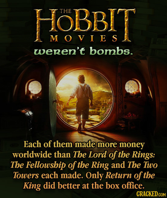 HOBBIT THE MOVIES weren't bombs. Each of them made more money worldwide than The Lord of the Rings: The Fellowship of the Ring and The Two Towers each