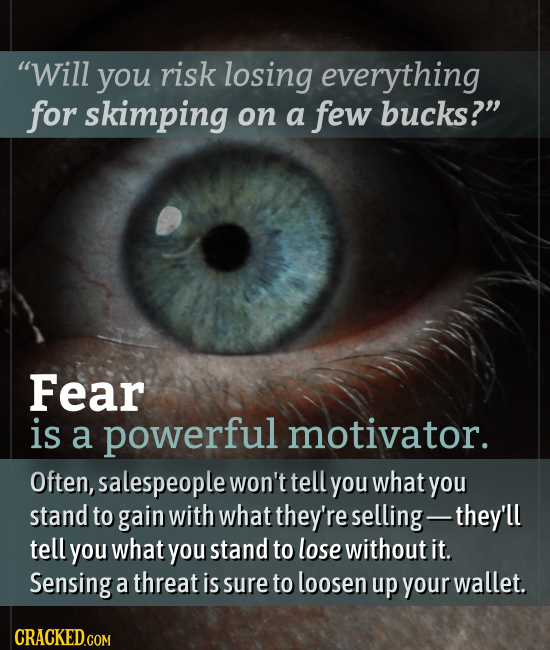 Will you risk losing everything for skimping on a few bucks? Fear is a powerful motivator. Often, salespeople won't tell you what you stand to gain