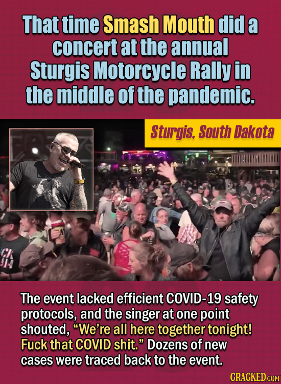 15 Of The Strangest Things 2020 Managed To Cook Up (Part 2) - That time Smash Mouth did a concert at the annual Sturgis Motorcycle Rally in the middle