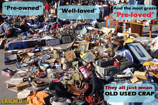 Pre-owned And the Well-loved most gross: Pre-loved They all just mean OLD USED CRAP CRACKED COM