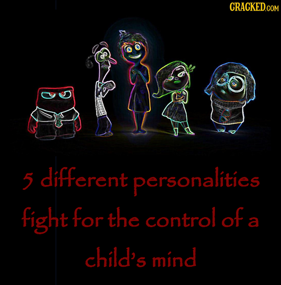 5 different personalities fight for the control of a child's mind