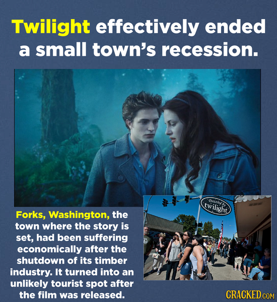 Twilight effectively ended a small town's recession. Dazls twilight Forks, Washington, the town where the story is set, had been suffering economicall