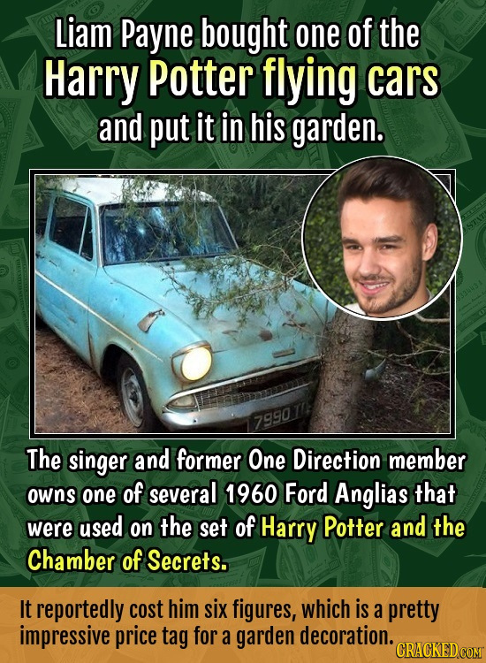 Liam Payne bought one of the Harry Potter flying cars and put it in his garden. 79901 The singer and former One Direction member owns one of several 1
