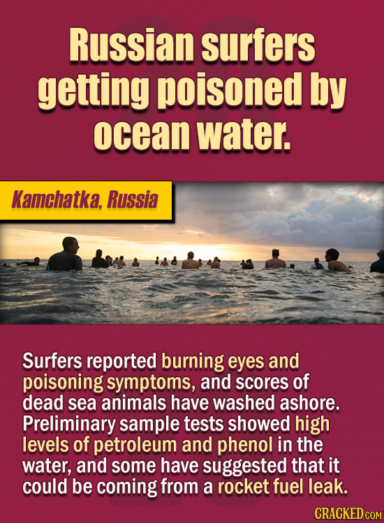 15 Of The Strangest Things 2020 Managed To Cook Up (Part 2) - Russian surfers getting poisoned by ocean water. Surfers reported burning eyes and poiso