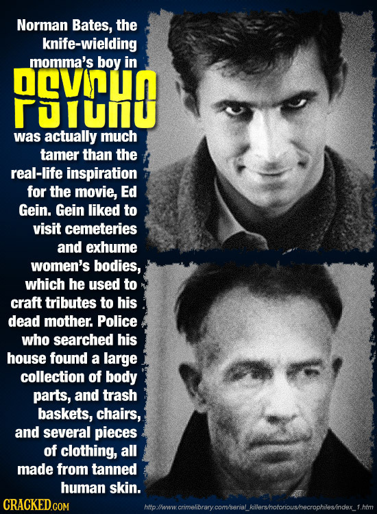 Norman Bates, the knife-wielding momma's boy in DeVUN UU was actually much tamer than the real-life inspiration for the movie, Ed Gein. Gein liked to