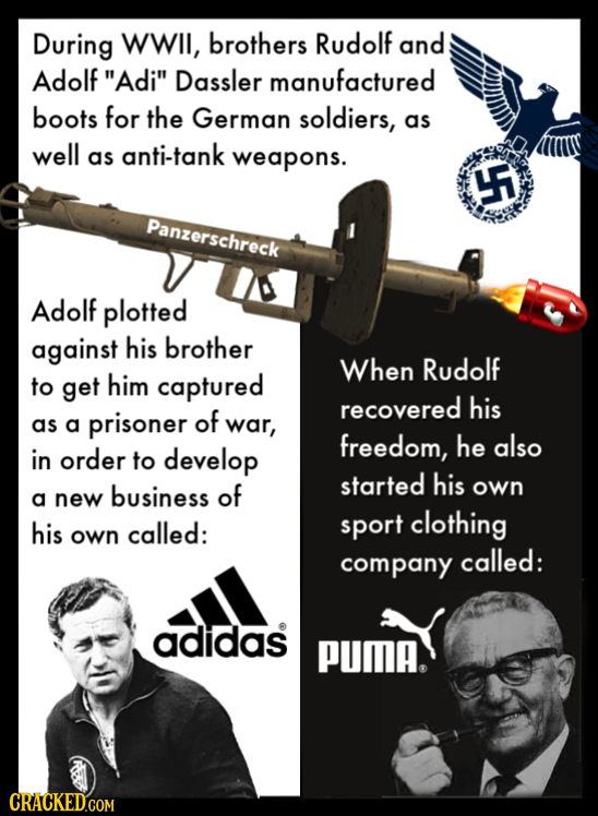 During WWII, brothers Rudolf and Adolf Adi Dassler manufactured boots for the German soldiers, as well anti-tank as weapons. F Panzerschreck Adolf p