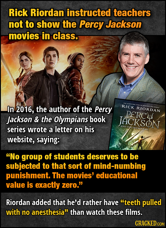Rick Riordan instructed teachers not to show the Percy Jackson movies in class. In 2016, the author of the Percy RICK RIORDAN PERC Jackson & the Olymp