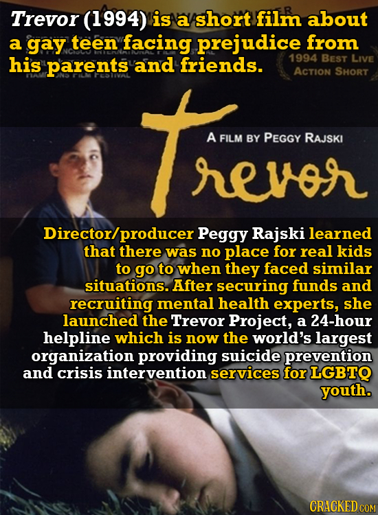 Trevor (1994) is a short film about a gay teen facing prejudice from his parents and friends. 1994 BEST LIVE ACTION SHORT A FILM BY PEGGY RAJSKI revor