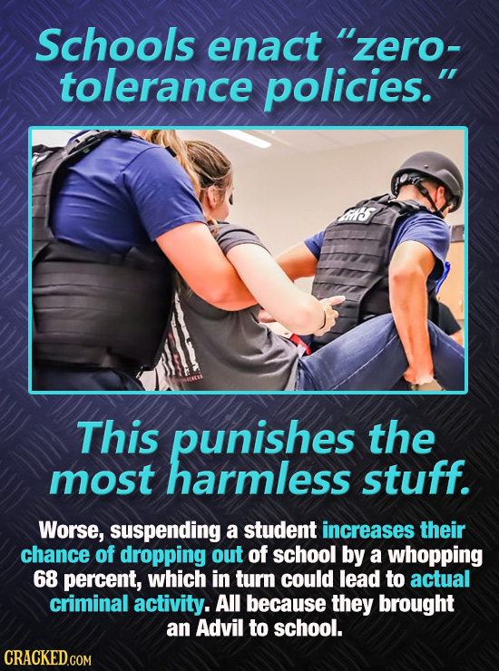 Schools enact zero- tolerance policies. This punishes the most harmless stuff. Worse, suspending a student increases their chance of dropping out of