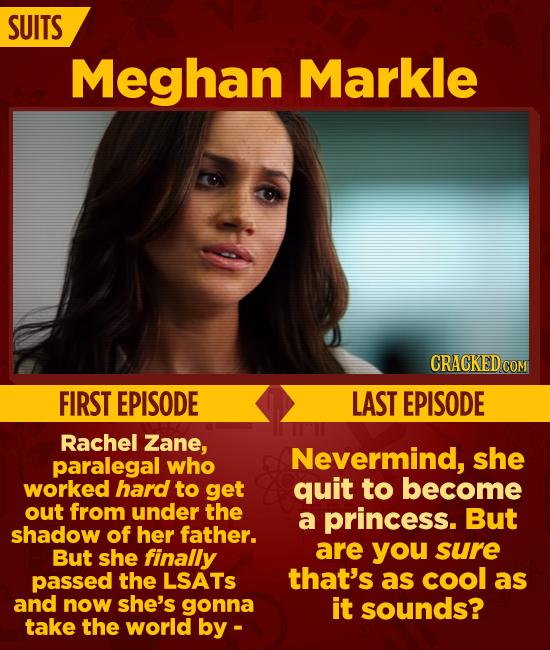 SUITS Meghan Markle CRACKEDCO COM FIRST EPISODE LAST EPISODE Rachel Zane, paralegal Nevermind, she who worked hard to get quit to become out from unde