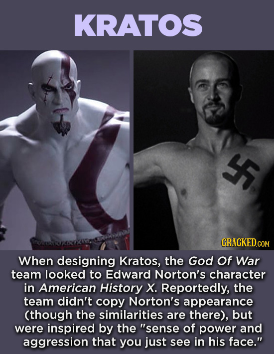 20 Characters You Never Realized Are Based On Real People - When designing Kratos, the God Of War team looked to Edward Norton's character in American