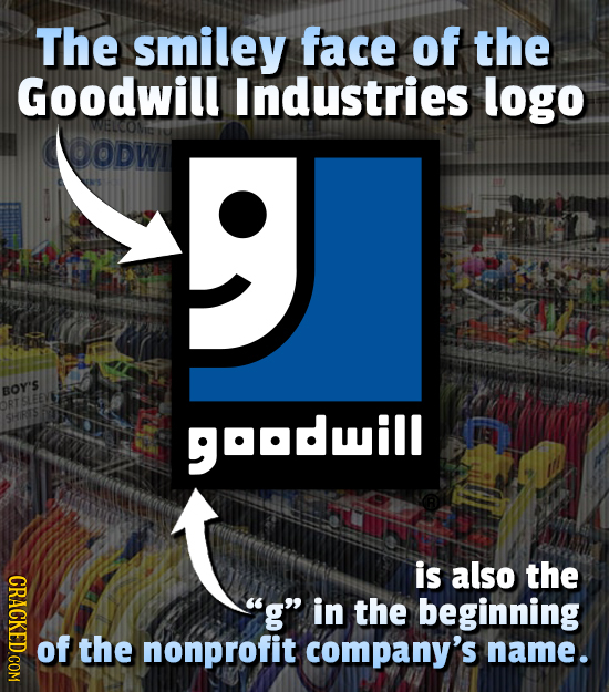 The smiley face of the Goodwill Industries logo DODWI 9 BOY'S GOODil is also the CRACKED COM g in the beginning of the nonprofit company's name.