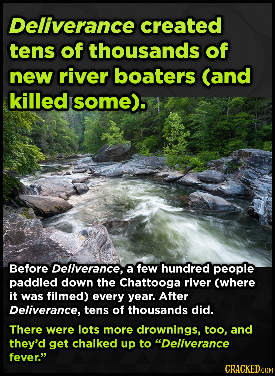 Deliverance created tens of thousands of new river boaters (and killed some). Before Deliverance, a few hundred people paddled down the Chattooga rive