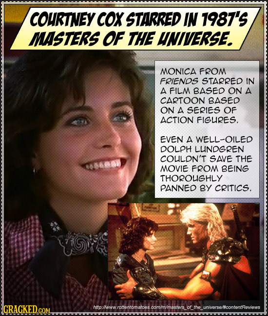 COURTNEY COX STARRED IN 1987'S MASTERS OF THE UNIVERSE. MONICA FROM FRIENOS STARRED IN A FILM BASED ON A CARTOON BASED ON A SERIES OF ACTION FIGURES.
