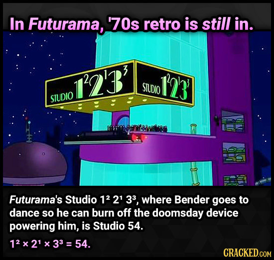 In Futurama, 70s retro is still in. 12B 13 STUDIO STUDIO Futurama's Studio 12 21 33, where Bender goes to dance so he can burn off the doomsday device