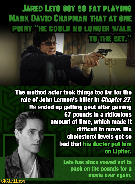 JAred LETO GOT SO FAT PLAYING MARK DAVID CHAPMAN THAT AT ONE POINT HE COULD NO LONGER WALK TO THE SET. The method actor took things too far for the