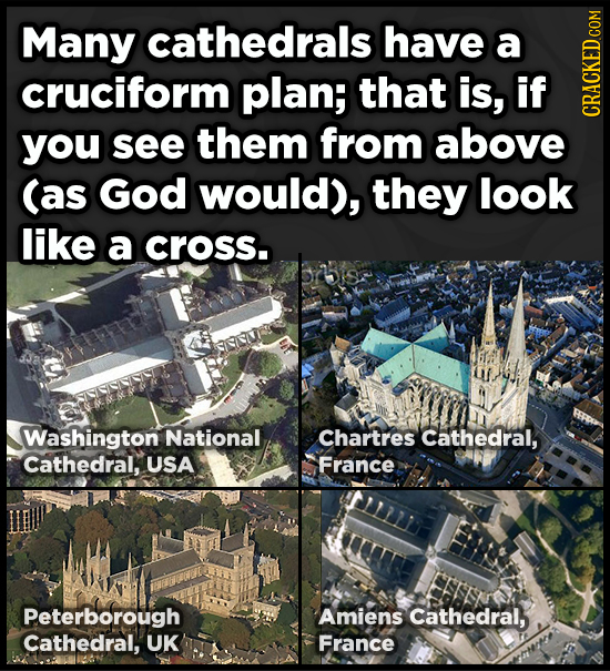 Many cathedrals have a cruciform plan; that is, if CRACN you see them from above (as God would), they look like a cross. Washington National Chartres