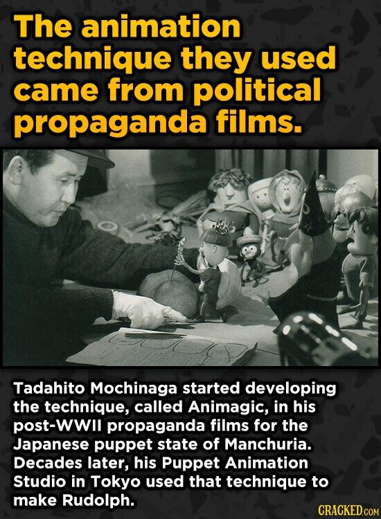 The animation technique they used came from political propaganda films. Tadahito Mochinaga started developing the technique, called Animagic, in his p