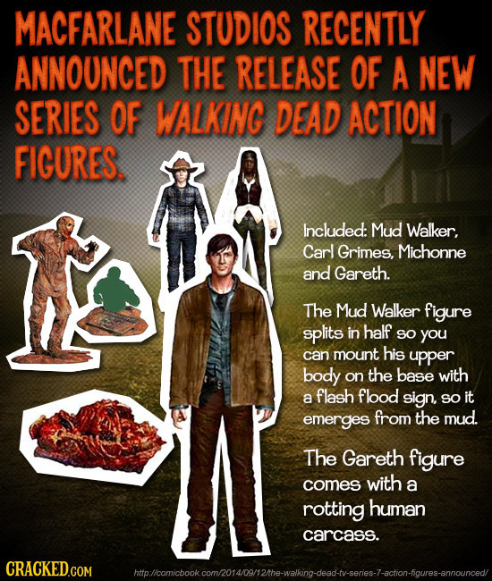 MACFARLANE STUDIOS RECENTLY ANNOUNCED THE RELEASE OF A NEW SERIES OF WALKING DEAD ACTION FIGURES. Included: Mud Walker, Carl Grimes, Michonne and Gare