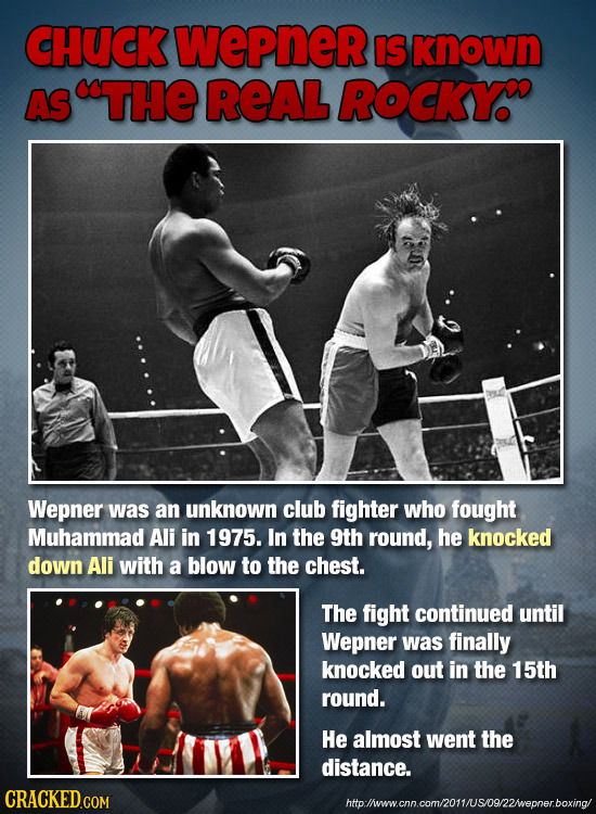 CHUCK WePneR IS known AS STHE REAL ROCKY Wepner was an unknown club fighter who fought Muhammad Ali in 1975. In the 9th round, he knocked down Ali wit