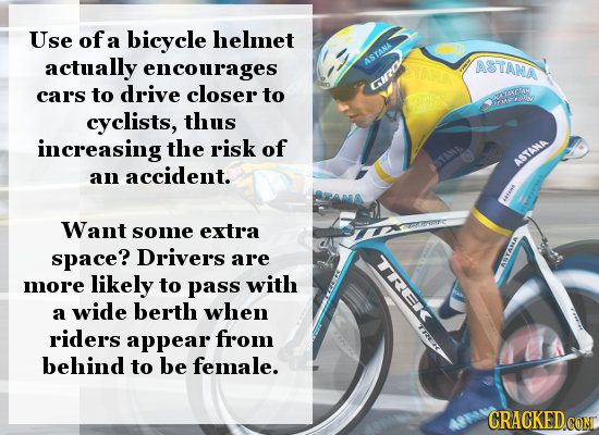 Use of a bicycle helmet actually encourages ASTANA ASTANA car's to drive closer to CIRO weye ot cyclists, thus increasing the risk of an accident. AST