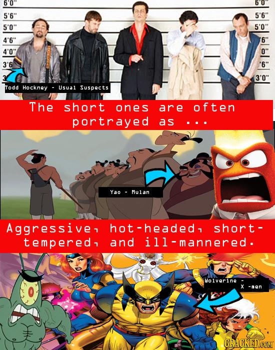 6'0 bo 5'6 5'6 5'0 5'0 4'6 6 4'0 0 3'6 '6 3'0 Todd Hockney Usual Suspects The short ones are often portrayed as ... Yao Mulan Aggressive, ho