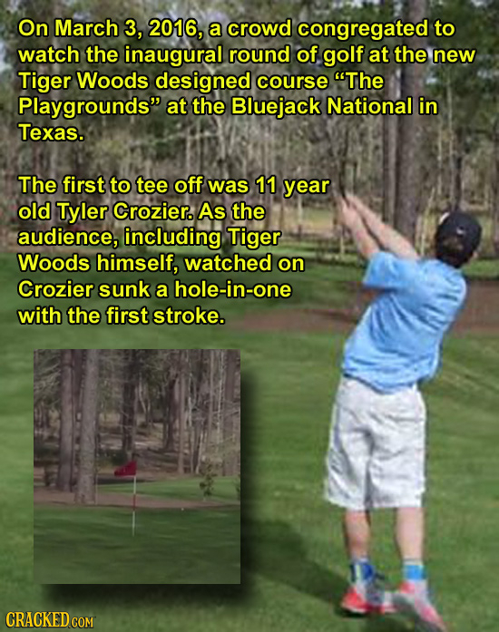 On March 3, 2016, a crowd congregated to watch the inaugural round of golf at the new Tiger Woods designed course The Playgrounds at the Bluejack Na