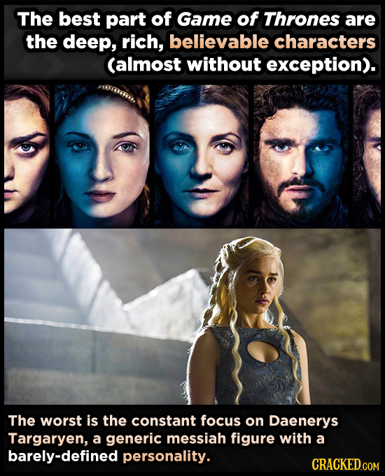The best part of Game of Thrones are the deep, rich, believable characters (almost without exception). The worst is the constant focus on Daenerys Tar